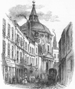 WARCS: College, Warwick Lane, in 1841, antique print, 1845